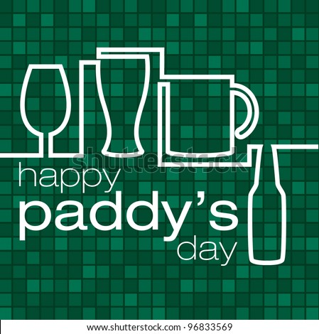 """""""Happy Paddy's Day"""" beer glass card in vector format. - stock vector"""