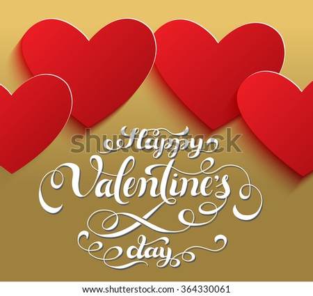 happy valentines day calligraphic design for invitation or greeting card
