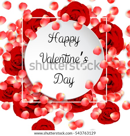 happy valentine's day card with roses and petals on a white background