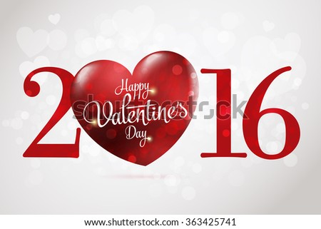 2016 Happy Valentine's day lettering card. Vector illustration. Gray background - stock vector