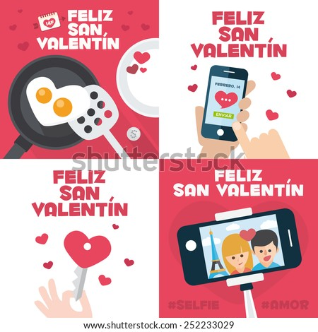 4 happy valentines day cards with Fried egg in heart shape, Mobile send mail, Heart Key, and stick selfie written in Spanish - stock vector