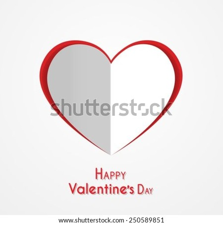 Happy Valentines day Paper Heart  - stock vector