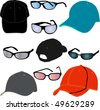 hat and glasses vector - stock vector