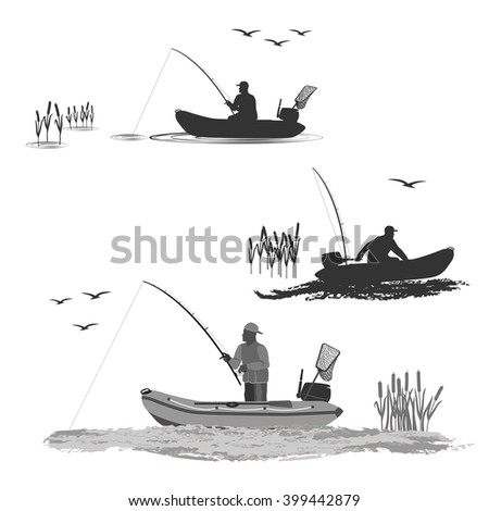 head coach of the club fishermen rides on a rubber boat with a motor. fisherman in a boat catches a fish set of silhouettes. totally vector illustration