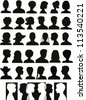 30 head silhouettes and a banner with crossing profiles - stock vector