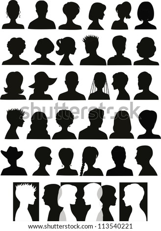 30 head silhouettes and a banner with crossing profiles