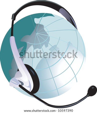 headphone in a globe	 - stock vector