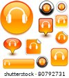 headphones vector glossy icons. - stock vector