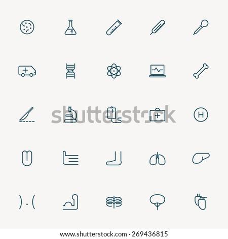 25 health and medicine minimal line icons - stock vector