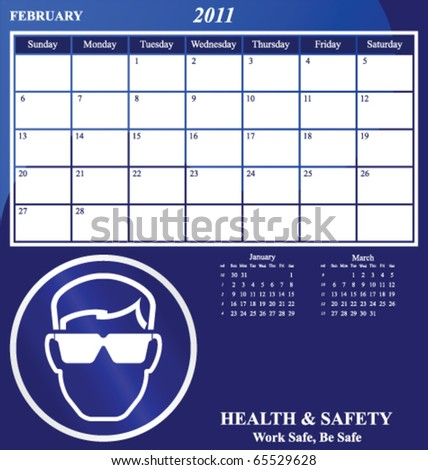 2011 Health and Safety calendar for the month of February - stock vector