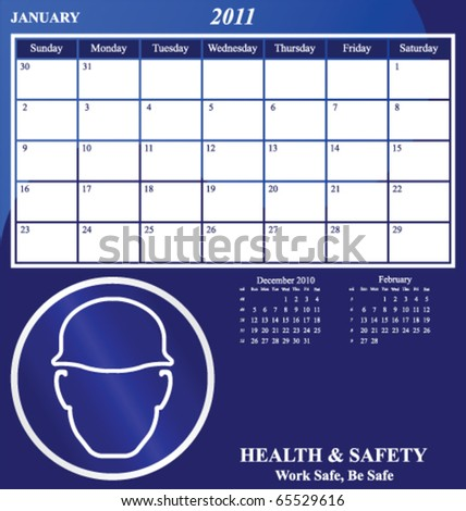 2011 Health and Safety calendar for the month of January - stock vector