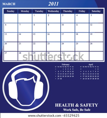 2011 Health and Safety calendar for the month of March - stock vector