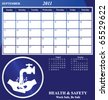 2011 Health and Safety calendar for the month of September - stock photo
