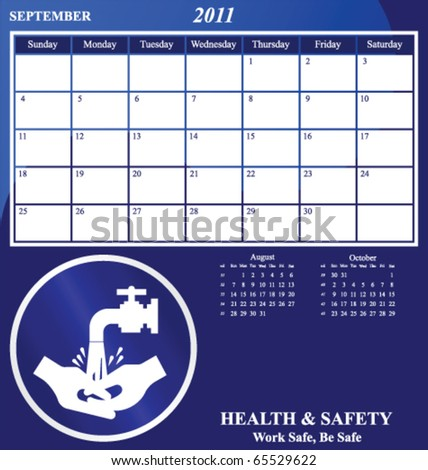 2011 Health and Safety calendar for the month of September - stock vector