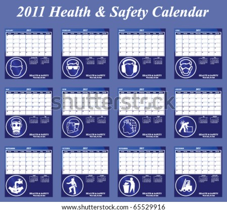 2011 Health and Safety calendar with page per month individually layered - stock vector
