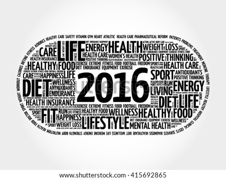 2016 health and sport goals word cloud, concept background - stock vector