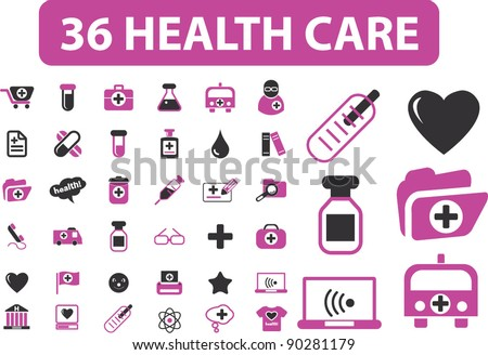 36 health care icons set, vector - stock vector