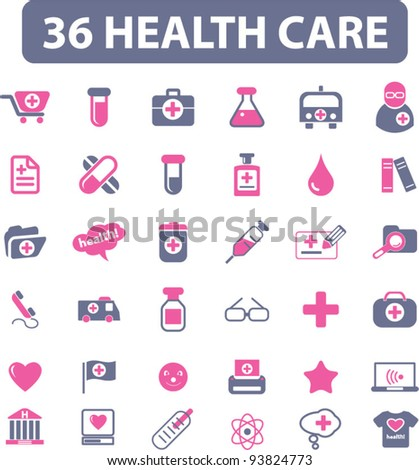 36 health care icons set, vector illustrations
