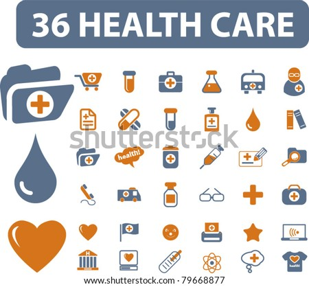 36 health care icons, signs, vector - stock vector