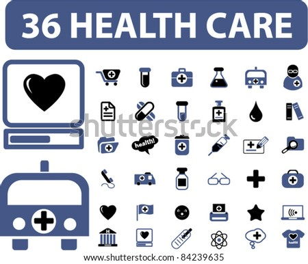 36 health care icons, signs, vector illustrations set - stock vector