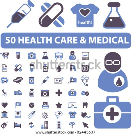 50 health care & medical icons, signs, vector illustrations - stock vector