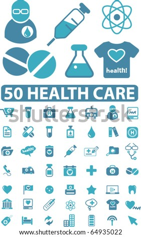 50 health care signs. vector - stock vector