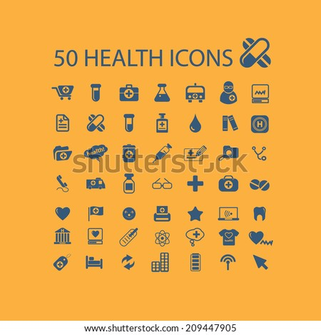 50 health icons, signs, objects set, vector - stock vector