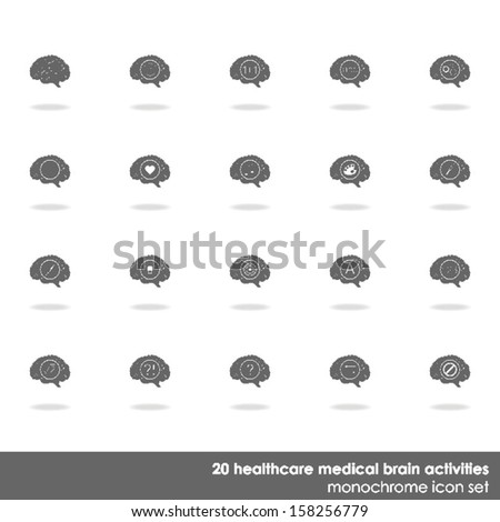 20 healthcare medical brain activities icon set on white background with shadow  - stock vector