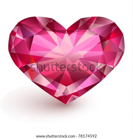 Heart-shaped diamond - stock vector