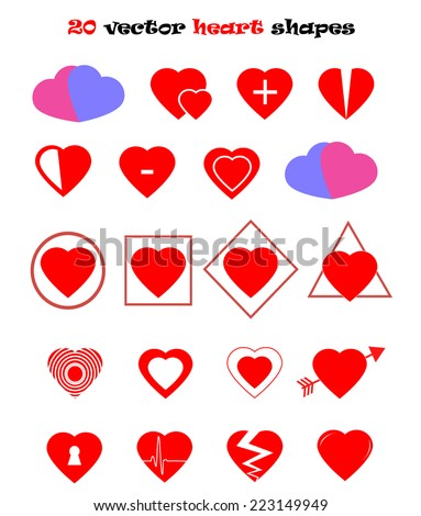 20 heart shapes vector illustration set isolated over white background. Saint Valentine's Day and wedding decoration