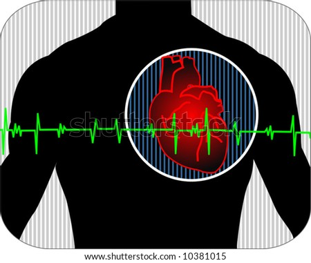 heart with pulse graph - stock vector