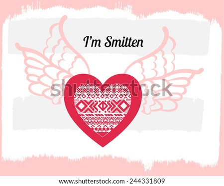 heart with wings over grunge background  - stock vector