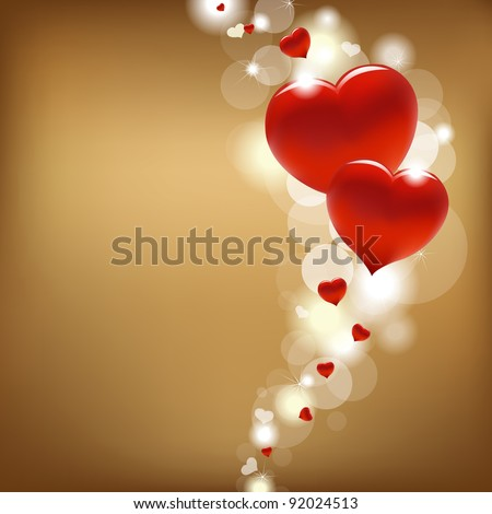 2 Hearts And Valentin`s Day Card With, Vector Illustration - stock vector