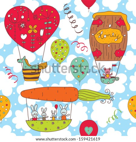 ?heerful children's pattern with little animals. Seamless pattern can be used for wallpaper, pattern fills, web page background, postcards. - stock vector