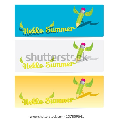 """hello summer"" banner collection . summer abstract background with pencil - stock vector"