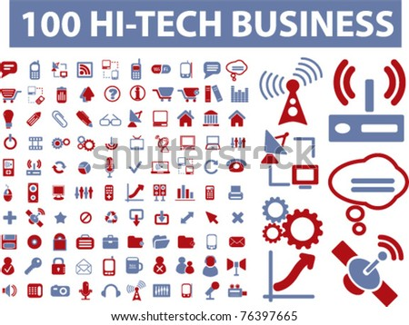 100 hi-tech business icons, vector - stock vector
