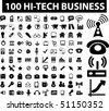 100 hi-tech business signs. vector - stock photo