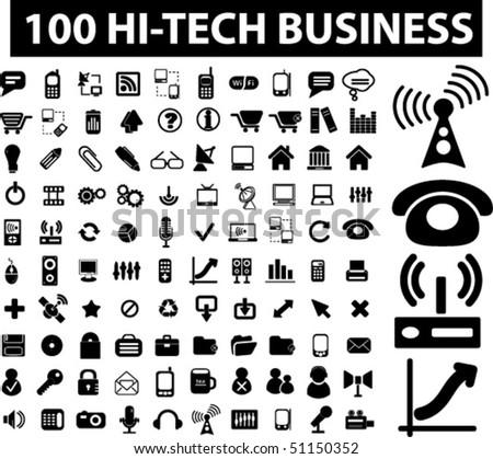 100 hi-tech business signs. vector - stock vector