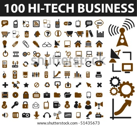 100 hi-tech business signs. vector - stock vector