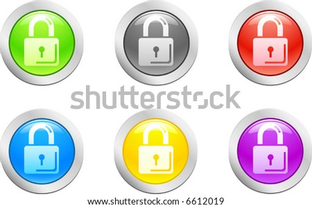 6 high-detailed buttons. Padlock button.  Vector illustration.