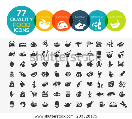77 High quality food icons, including meat, vegetable, fruits, seafood, desserts, drink, dairy products and more - stock vector