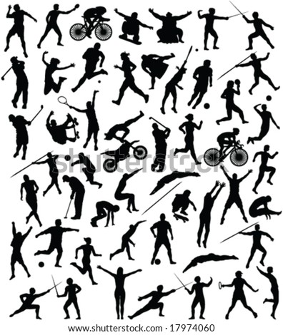 50 high quality sport silhouette - vector - stock vector
