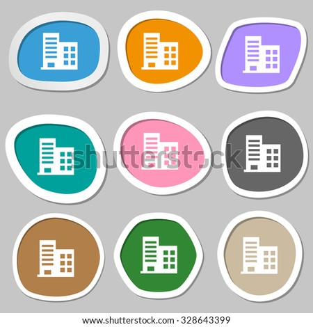 high-rise commercial buildings and residential apartments  icon symbols. Multicolored paper stickers. Vector illustration - stock vector