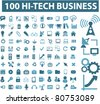 100 high technology business icons, signs, vector illustrations - stock vector