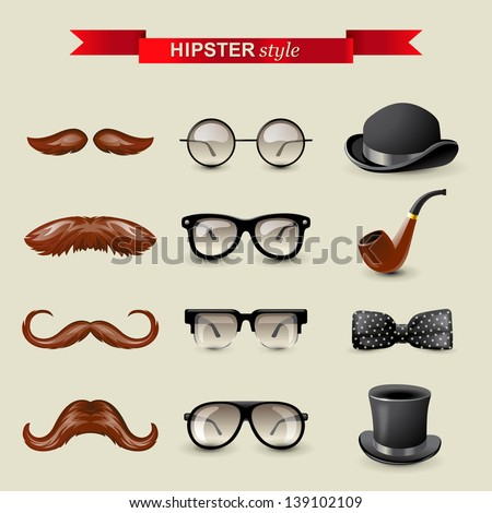 12 highly detailed hipster style accessories - stock vector