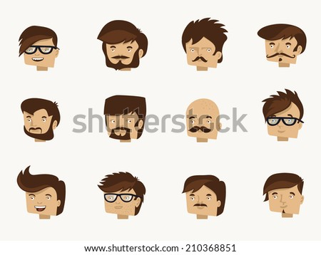 12 hipster faces - character design collection of modern haircut - stock vector