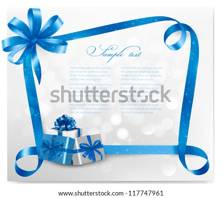 Holiday background with blue gift bow and gift boxes. Vector. - stock vector