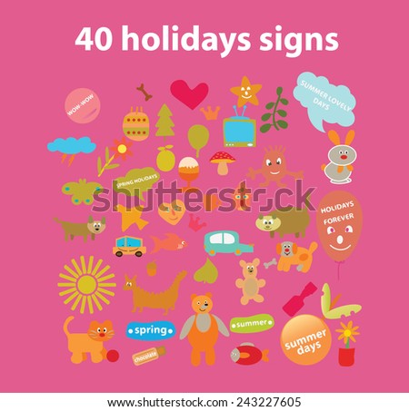 40 holidays doodle animals, birthday, ecology icons, signs, illustrations, silhouettes set, vector - stock vector