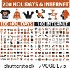 200 holidays & internet icons, signs, vector illustrations - stock photo