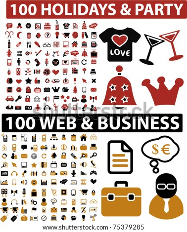 200 holidays, party & web, business icons, signs, vector illustations - stock vector